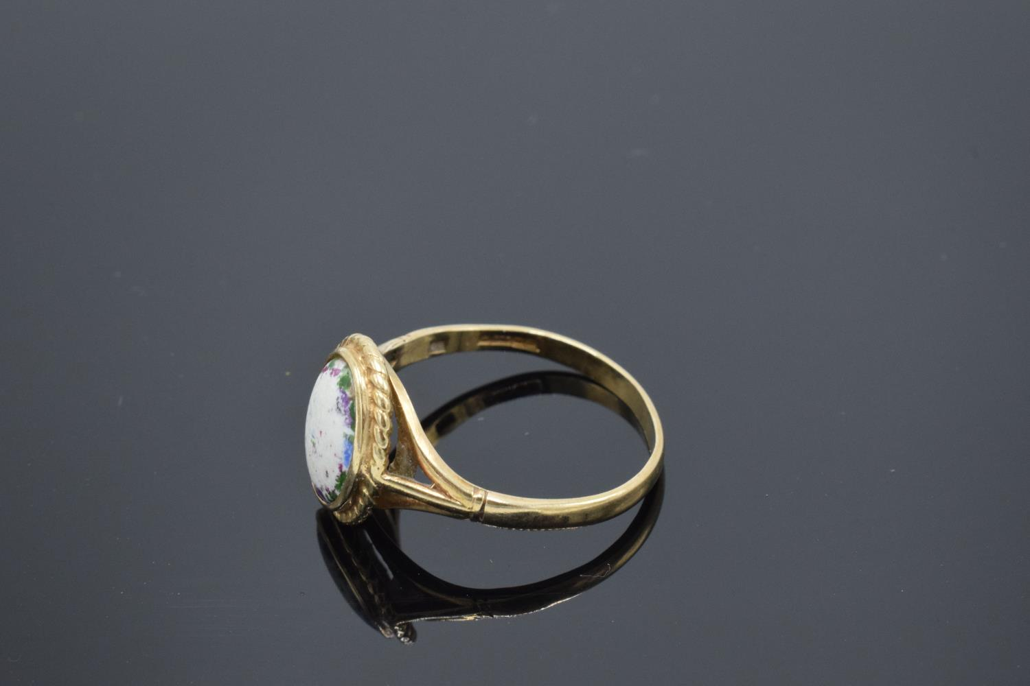 9ct gold ring set with a oval stone. 2.5 grams gross weight. UK size S. Full hallmarks. - Image 3 of 3
