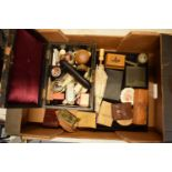 An interesting collection of items to include a leather-effect box, compacts, treen, brooches etc
