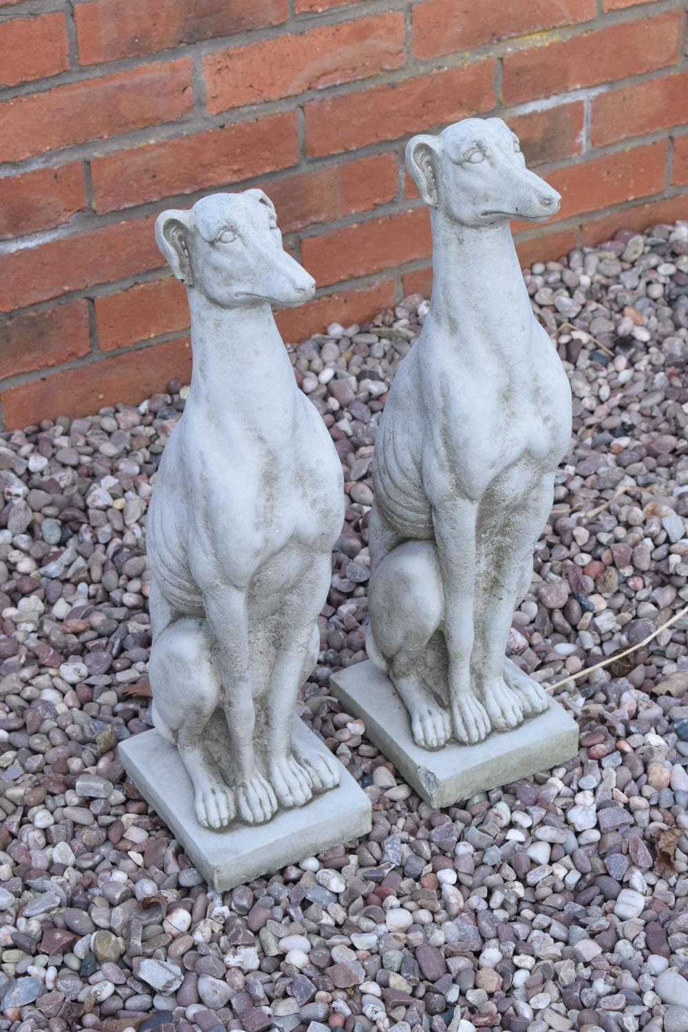 Reconstituted stone models of greyhounds. 54cm tall. Made in England, these items are frost and