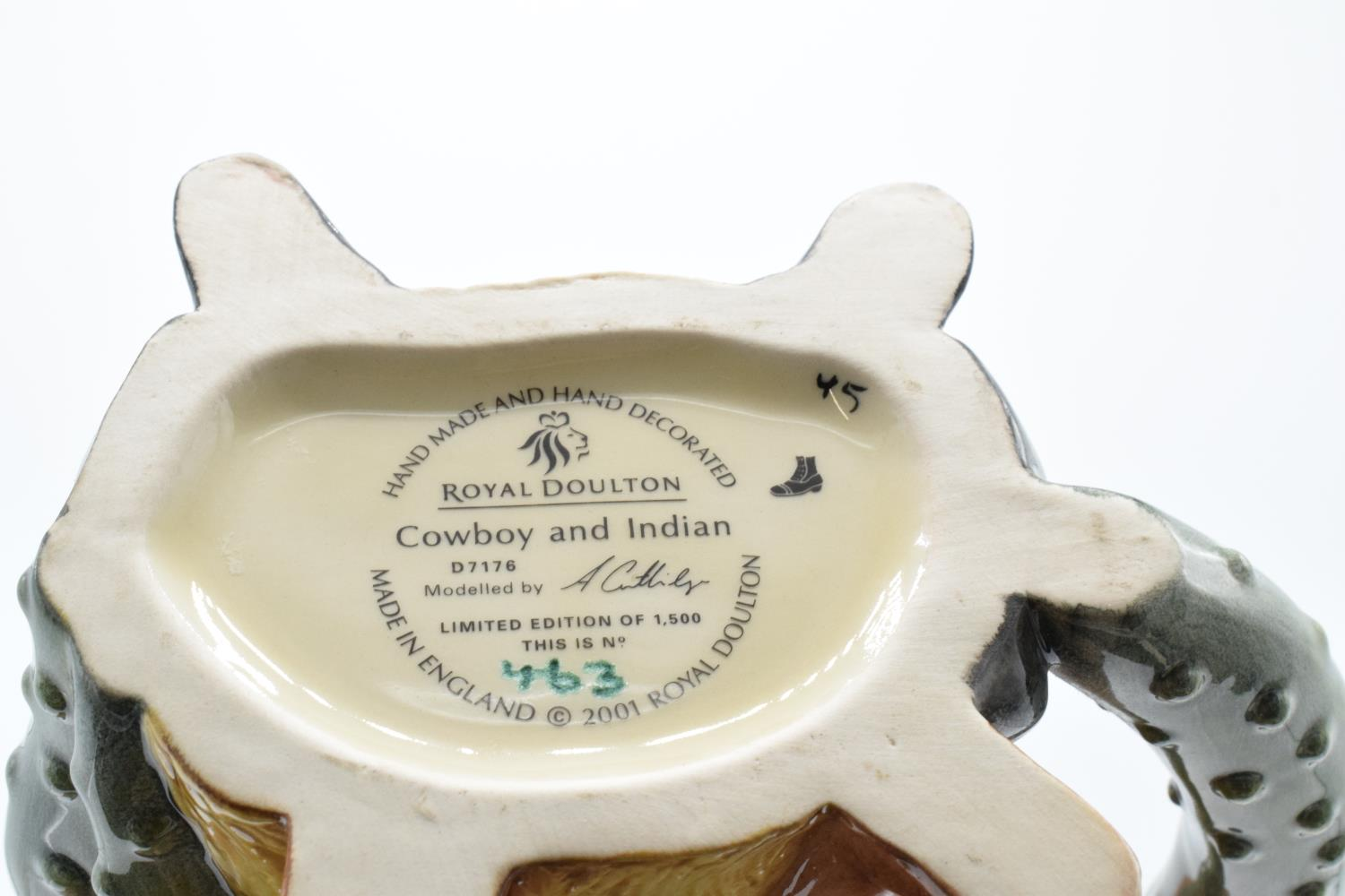Royal Doulton Double sided character jug tea pot Cowboy and Indian D7176. Number 463 of 1500. In - Image 3 of 3