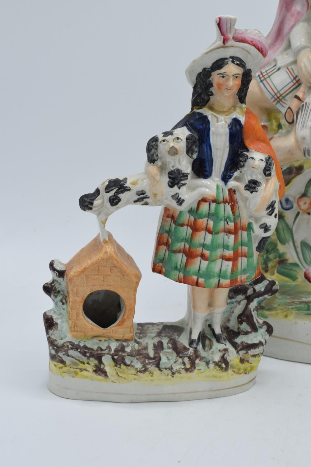 A collection of 19th century Staffordshire flatbacks to include a couple sitting on a clock, - Image 6 of 8