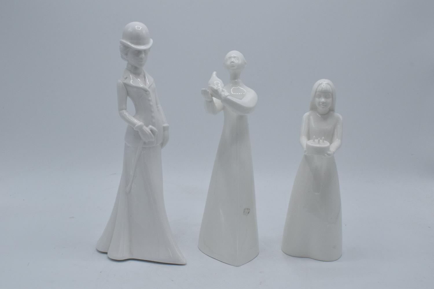 A collection of blanche china figures to include Spode Christina, Coalport Birthday Surprise and