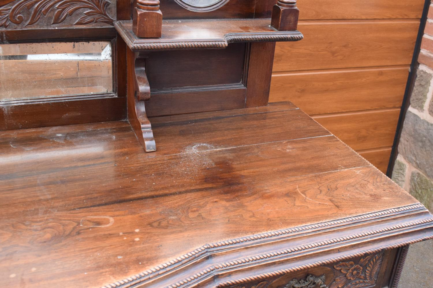 Edwardian large carved oak mirror backed sideboard. 178 x 64 x 224cm height. In good functional - Image 9 of 18