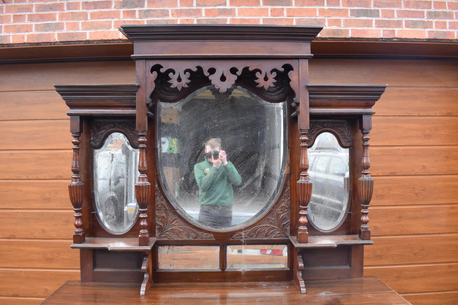 Edwardian large carved oak mirror backed sideboard. 178 x 64 x 224cm height. In good functional - Image 2 of 18