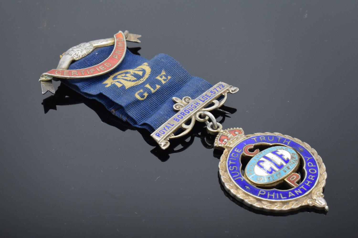 A silver medal and ribbon presented to Arthur J Thorne by the Royal Borough Lodge (GLE) Birmingham - Image 2 of 12