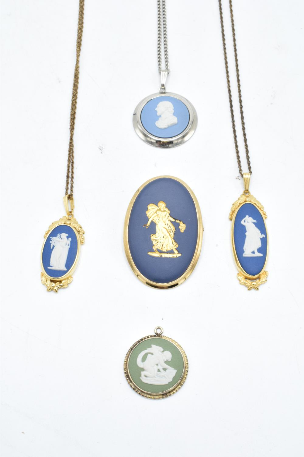 A collection of Wedgwood Jasperware jewellery to include necklaces and pendants with various