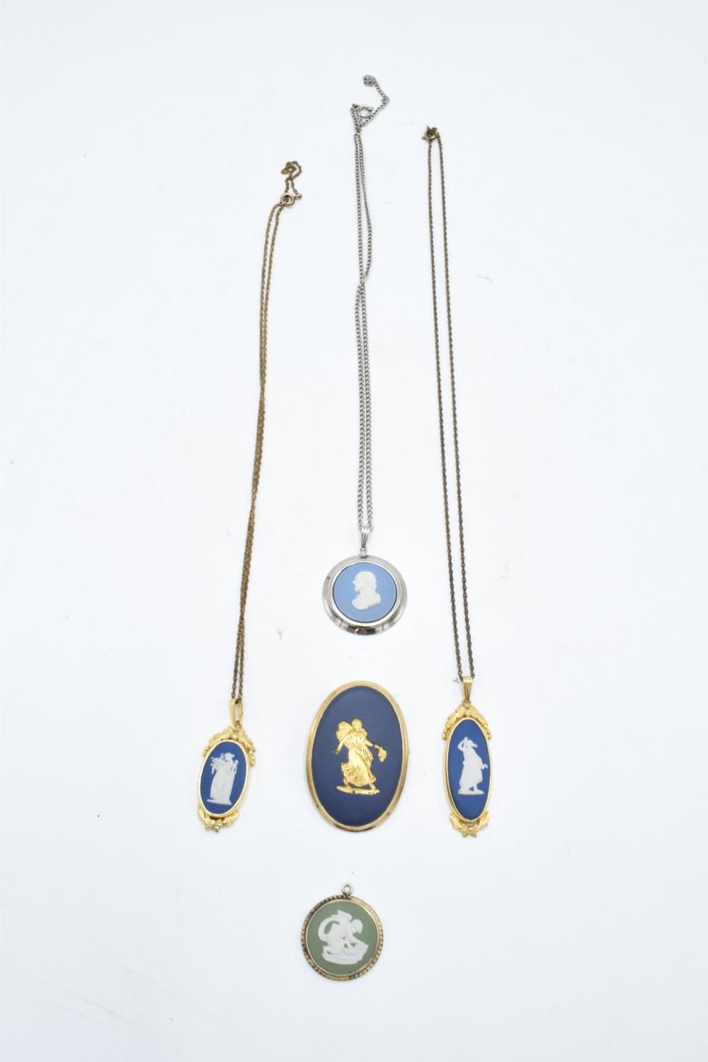 A collection of Wedgwood Jasperware jewellery to include necklaces and pendants with various - Image 2 of 2