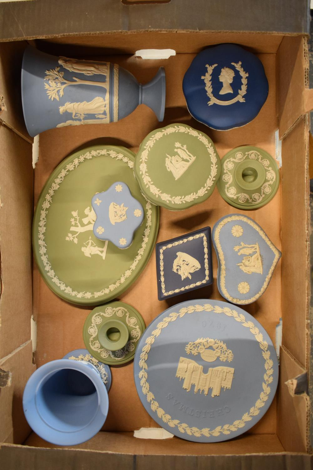 A collection of Wedgwood Jasperware to include vases, plates, trinkets etc in an array of colours to