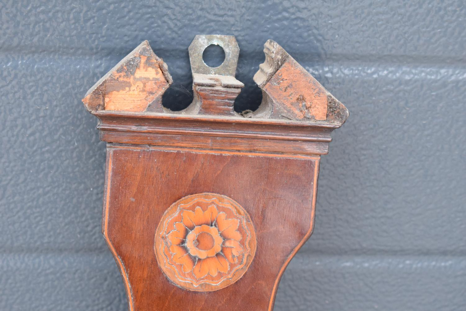 A pair of 19th century mahogany barometers one with inlaid motifs such as shell (both a/f). Please - Image 4 of 9