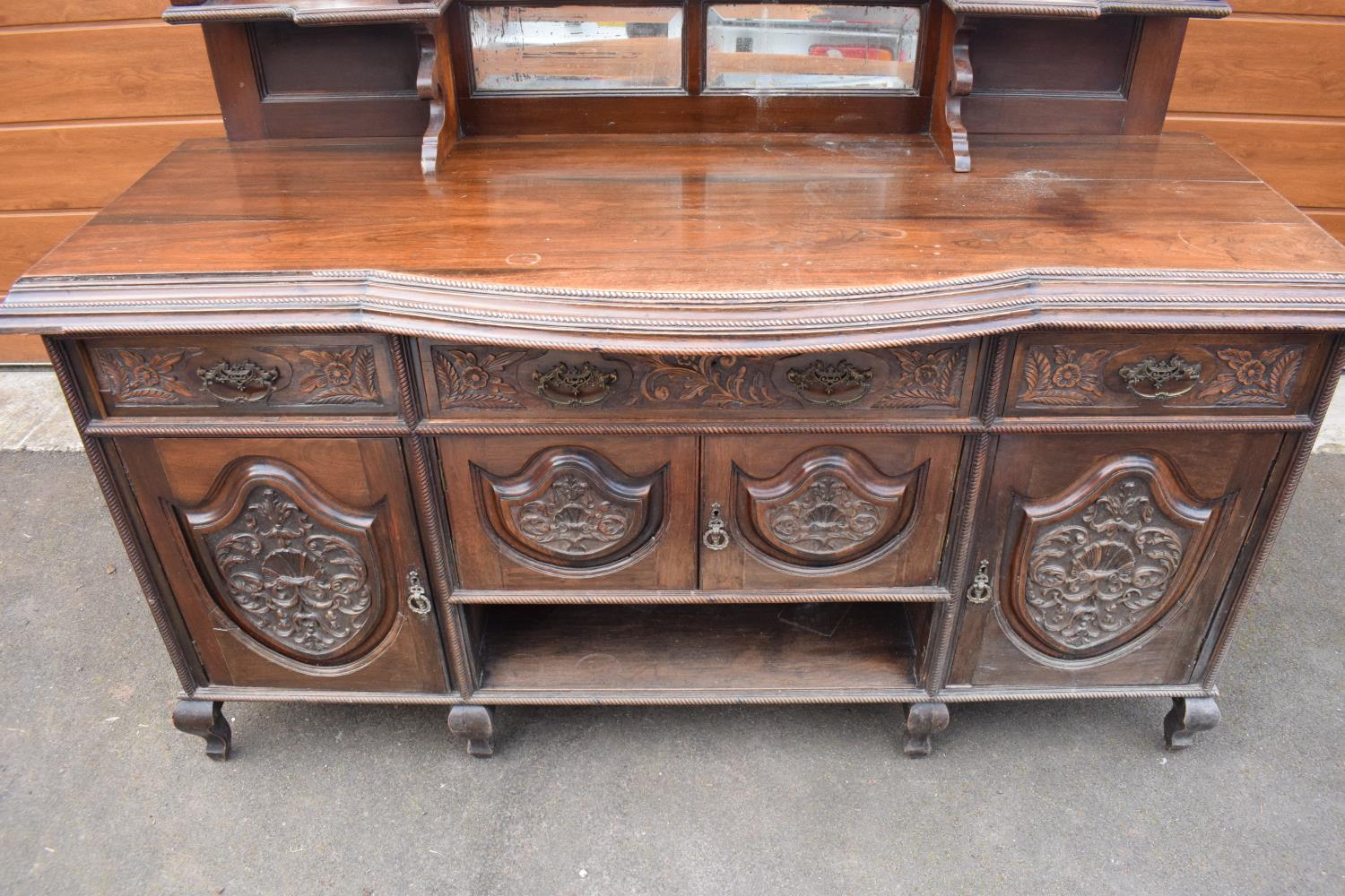 Edwardian large carved oak mirror backed sideboard. 178 x 64 x 224cm height. In good functional - Image 10 of 18