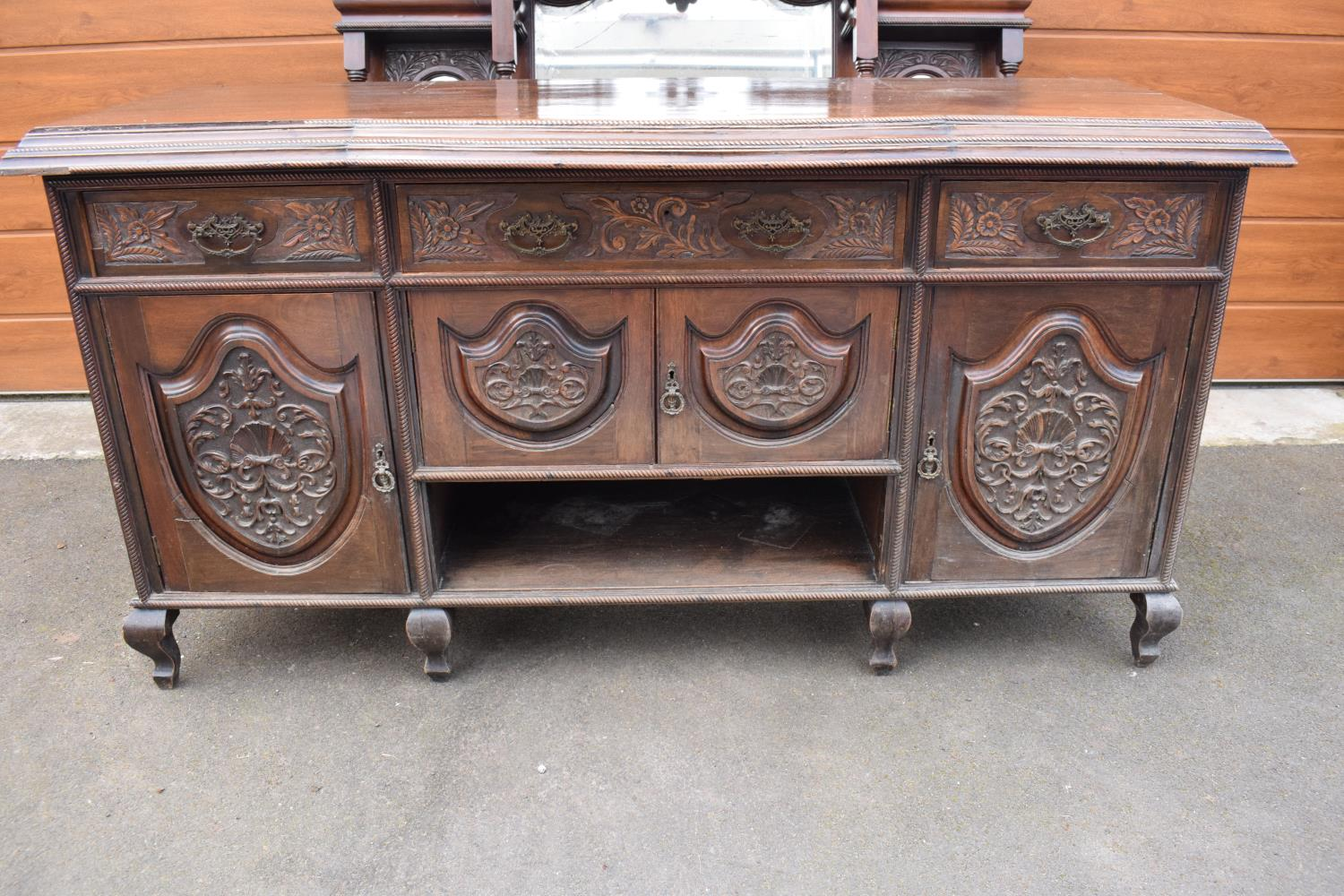Edwardian large carved oak mirror backed sideboard. 178 x 64 x 224cm height. In good functional - Image 13 of 18