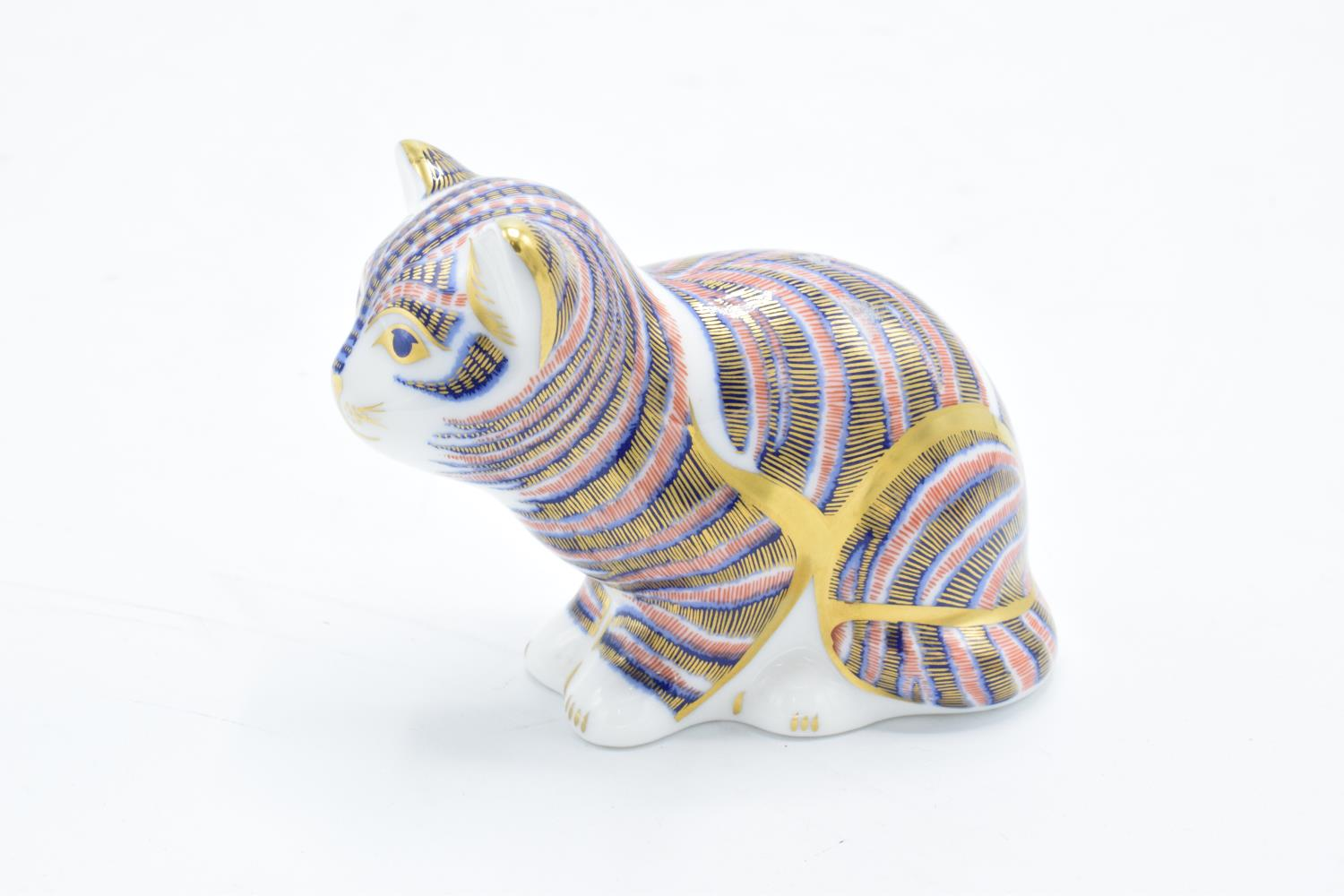 Royal Crown Derby paperweight in the form of a sitting kitten. In good condition with no obvious