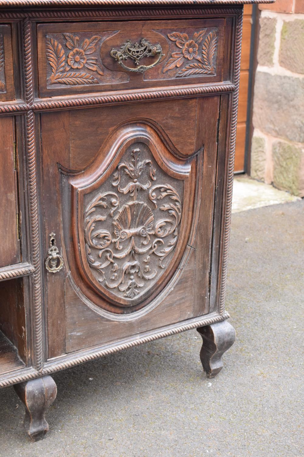 Edwardian large carved oak mirror backed sideboard. 178 x 64 x 224cm height. In good functional - Image 17 of 18