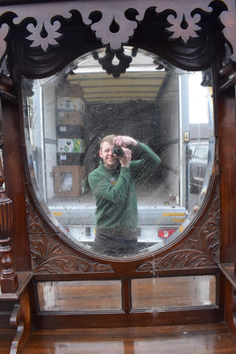 Edwardian large carved oak mirror backed sideboard. 178 x 64 x 224cm height. In good functional - Image 5 of 18