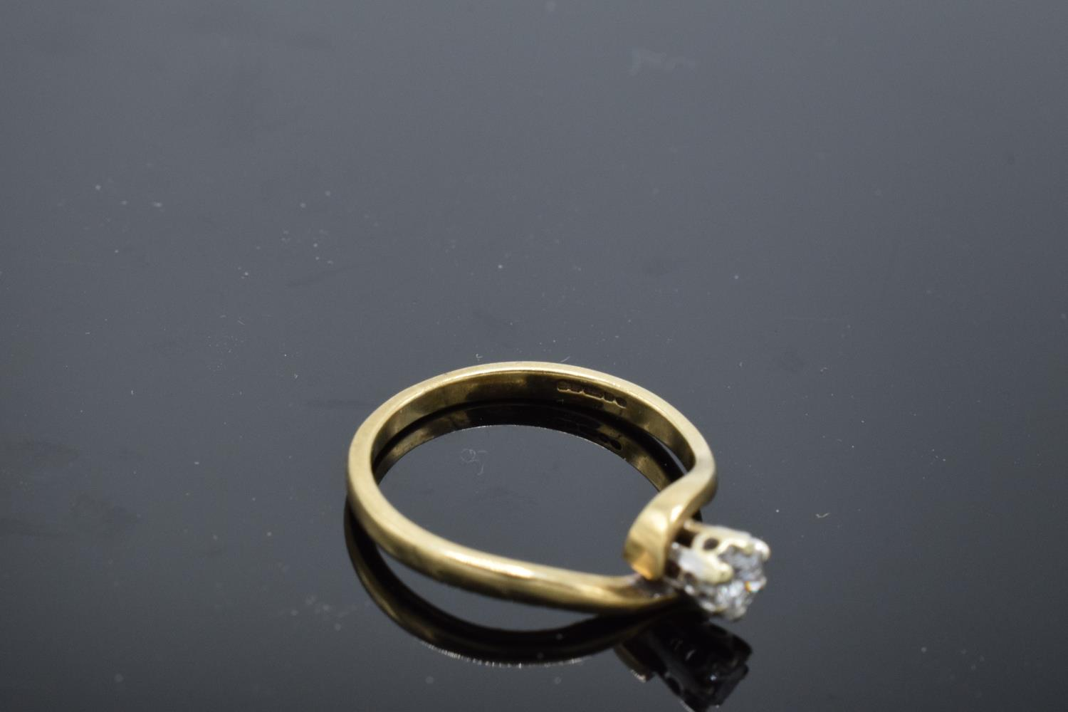 9ct gold ladies solitaire diamond ring. UK size L/M. 1.8 grams gross weight. Full hallmarks. - Image 4 of 4