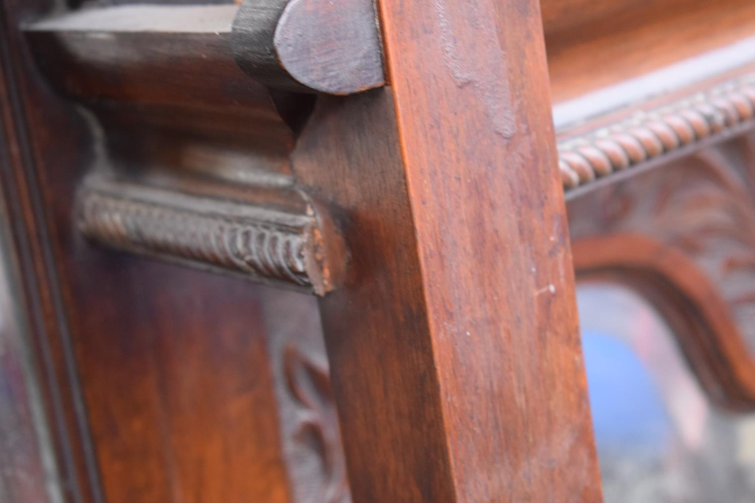 Edwardian large carved oak mirror backed sideboard. 178 x 64 x 224cm height. In good functional - Image 12 of 18