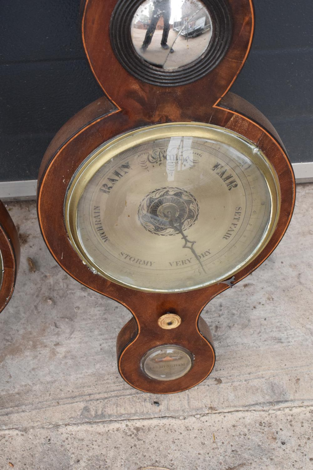 A pair of 19th century mahogany barometers one with inlaid motifs such as shell (both a/f). Please - Image 7 of 9