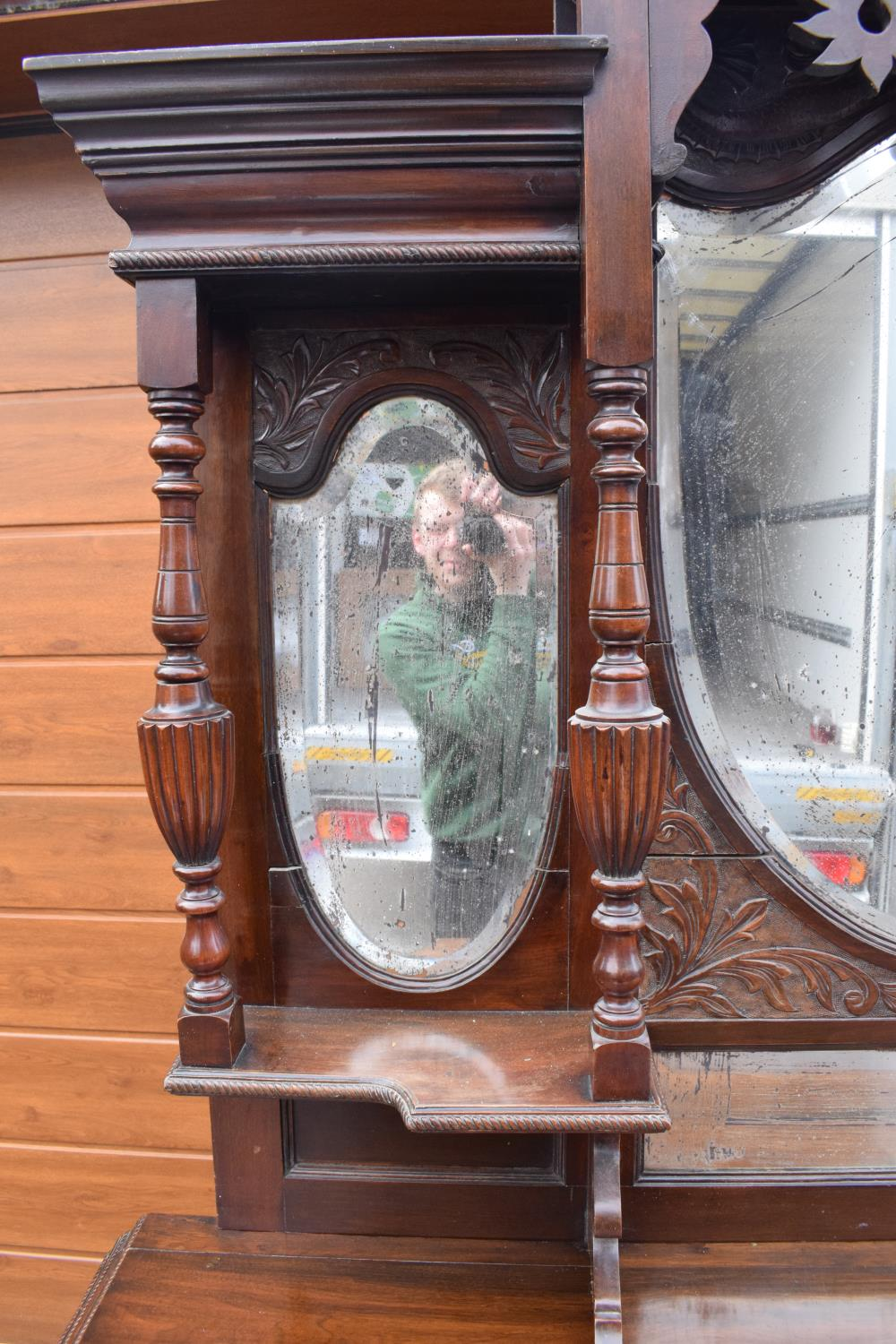 Edwardian large carved oak mirror backed sideboard. 178 x 64 x 224cm height. In good functional - Image 4 of 18