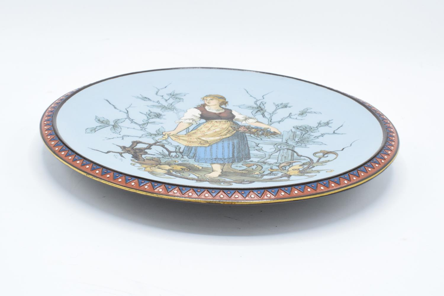 Late 19th century Mettlach (Villeroy and Boch) wall charger after C. Warth decorated with a lady - Image 2 of 5