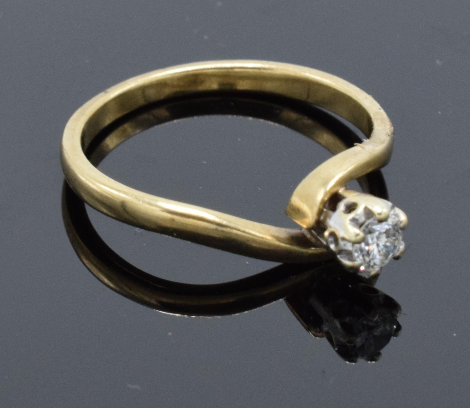 9ct gold ladies solitaire diamond ring. UK size L/M. 1.8 grams gross weight. Full hallmarks.