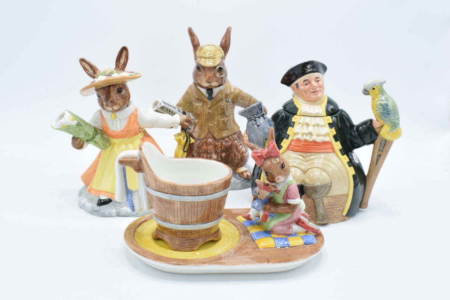 A collection of Royal Doulton to include a Long John Silver character teapot, Bunnykins Lord and