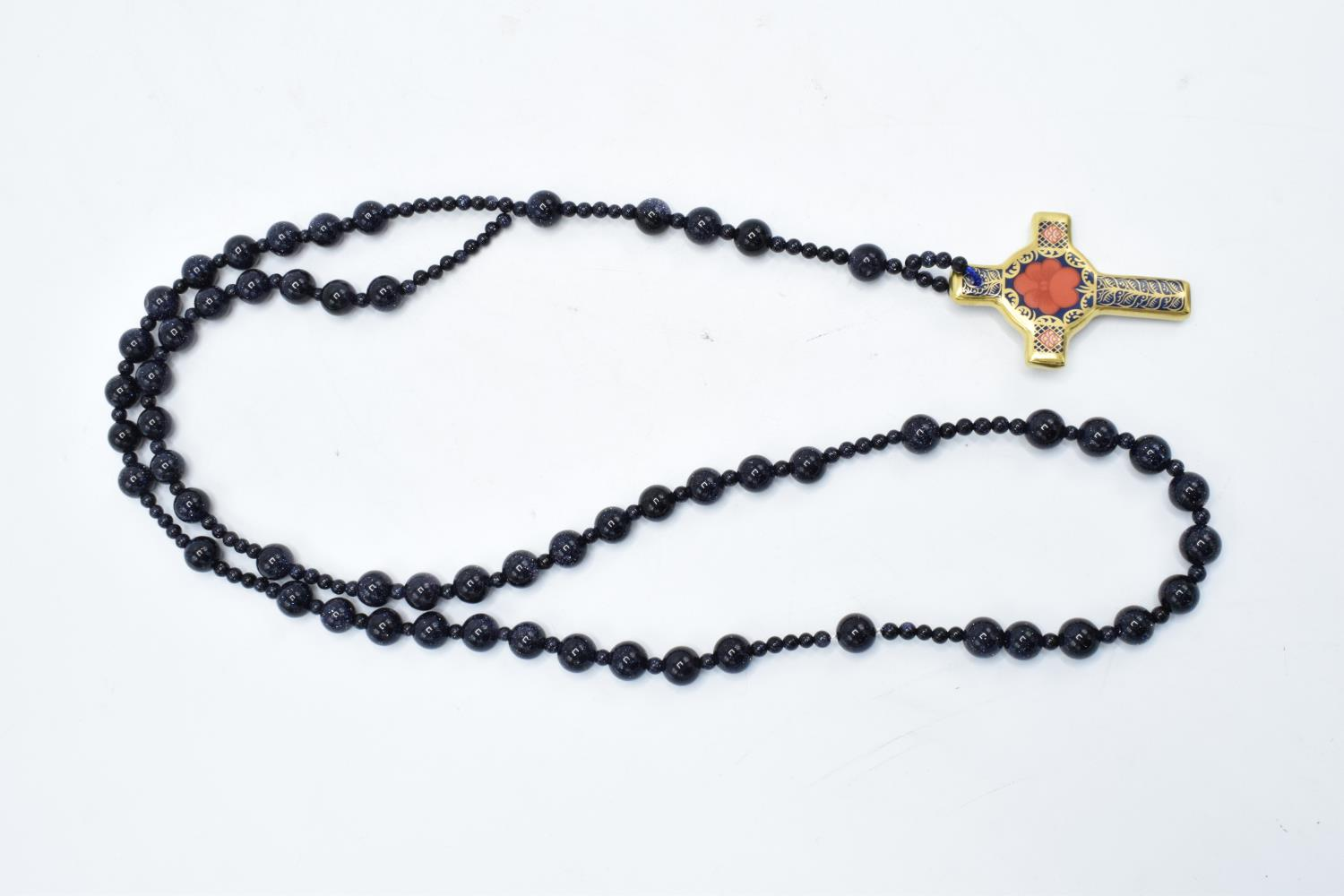 Royal Crown Derby Imari Rosary Cross pendant set on a beaded necklace, complete with box. As new. - Image 2 of 4
