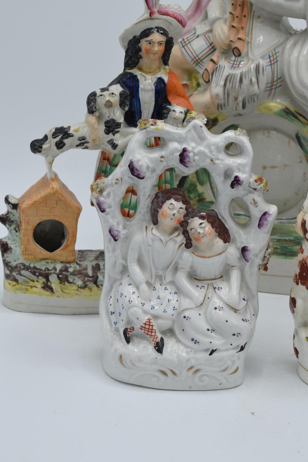 A collection of 19th century Staffordshire flatbacks to include a couple sitting on a clock, - Image 4 of 8