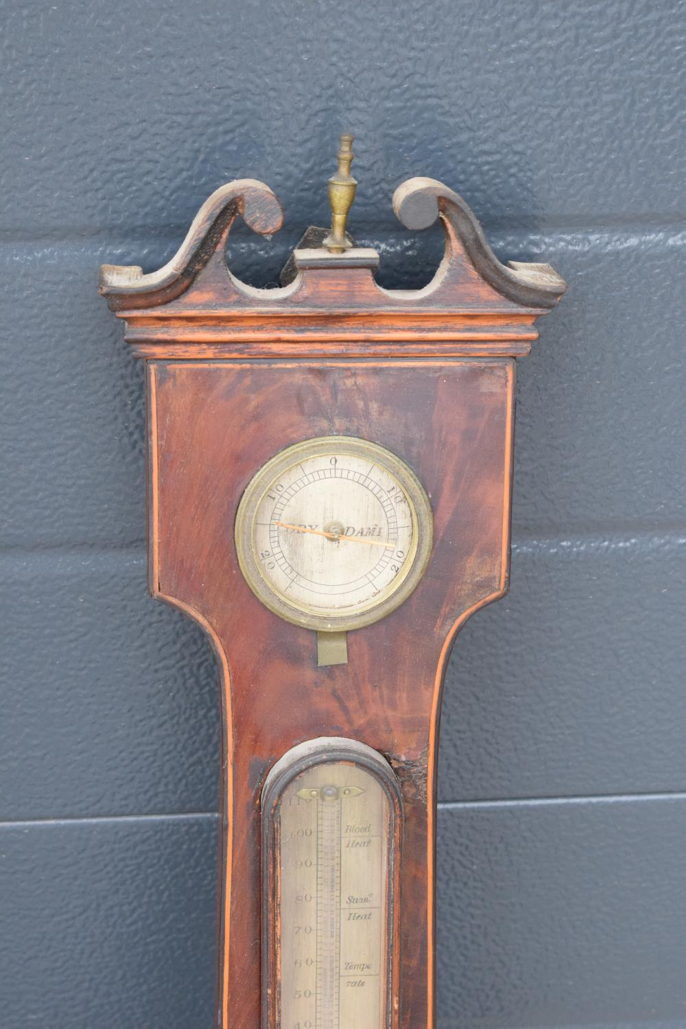 A pair of 19th century mahogany barometers one with inlaid motifs such as shell (both a/f). Please - Image 5 of 9