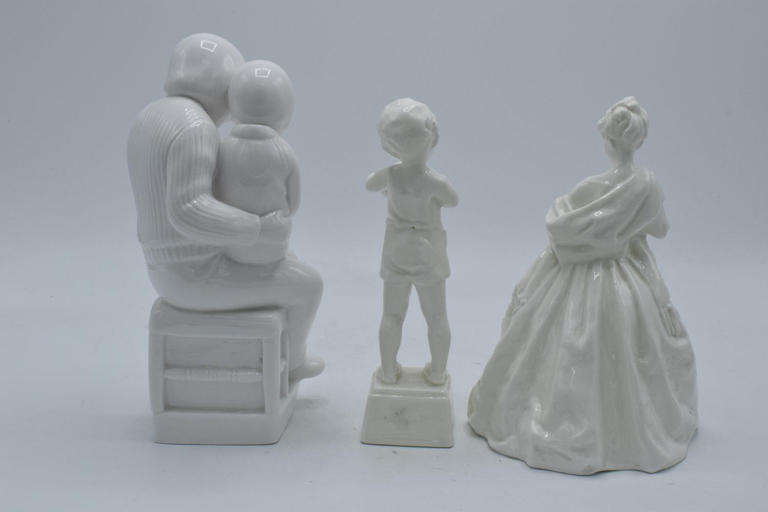 A collection of blanche china figures to include Royal Worcester Friday's Child, one other and Spode - Image 2 of 3