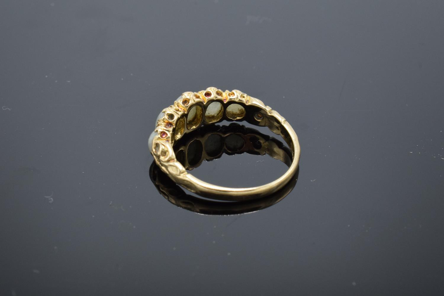 9ct gold ladies ring set with 5 opal stones, UK size N/O. Gross weight 2.6 grams. - Image 2 of 3