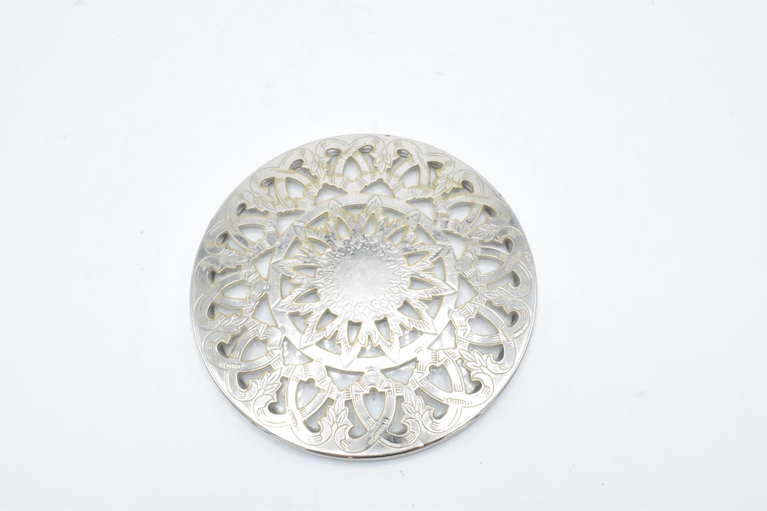 Silver plated and glass teapot stand/ placemat. 16cm diameter. In good condition with no obvious - Image 2 of 3