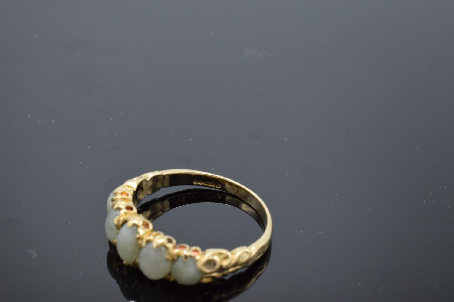 9ct gold ladies ring set with 5 opal stones, UK size N/O. Gross weight 2.6 grams. - Image 3 of 3