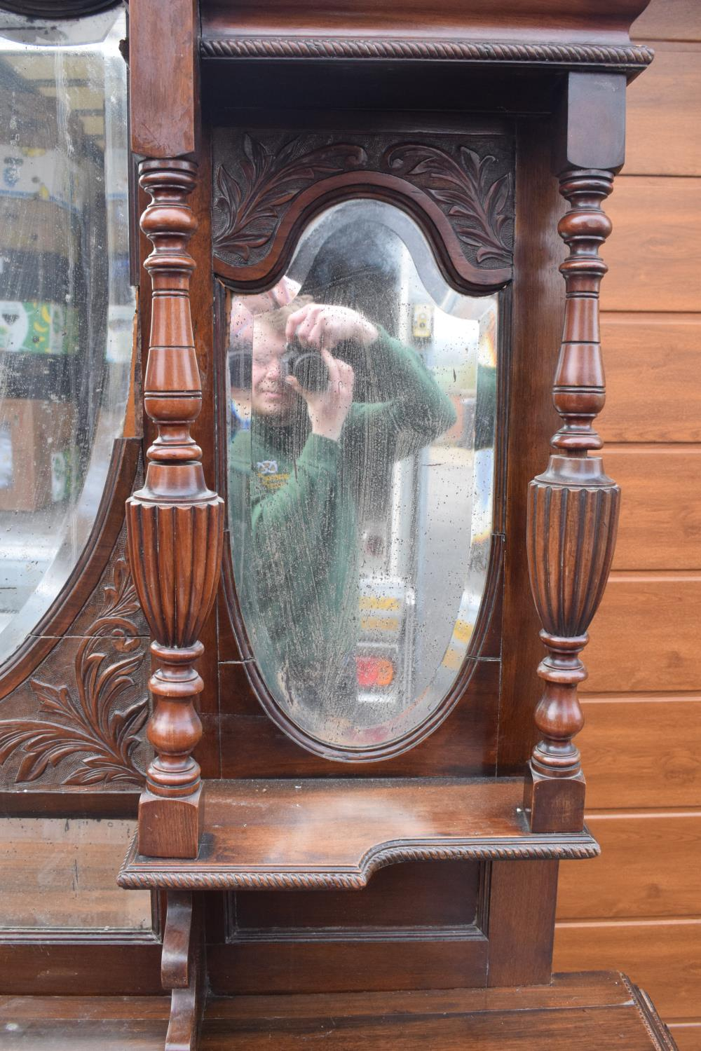Edwardian large carved oak mirror backed sideboard. 178 x 64 x 224cm height. In good functional - Image 7 of 18