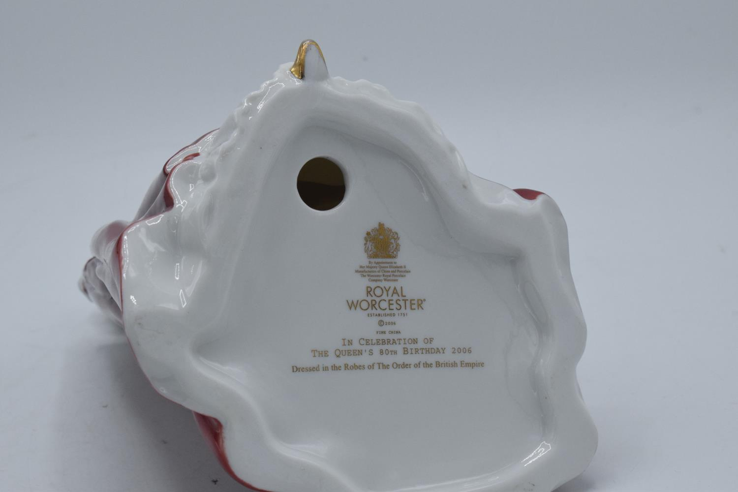 Royal Worcester figure Queens 80th Birthday. In good condition with no obvious damage or - Image 3 of 3