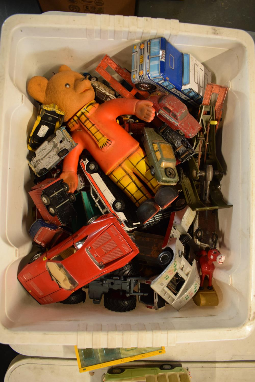 A large collection of childrens toy cars and trucks etc to include various makes Corgi, Scammel,