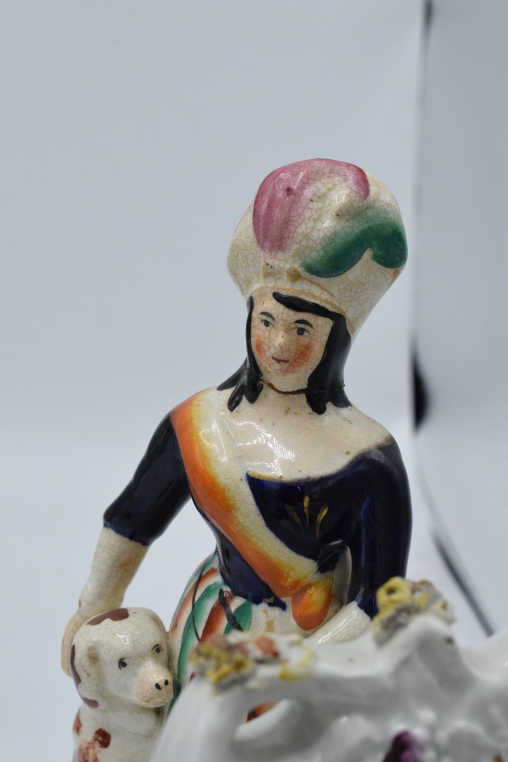 A collection of 19th century Staffordshire flatbacks to include a couple sitting on a clock, - Image 5 of 8