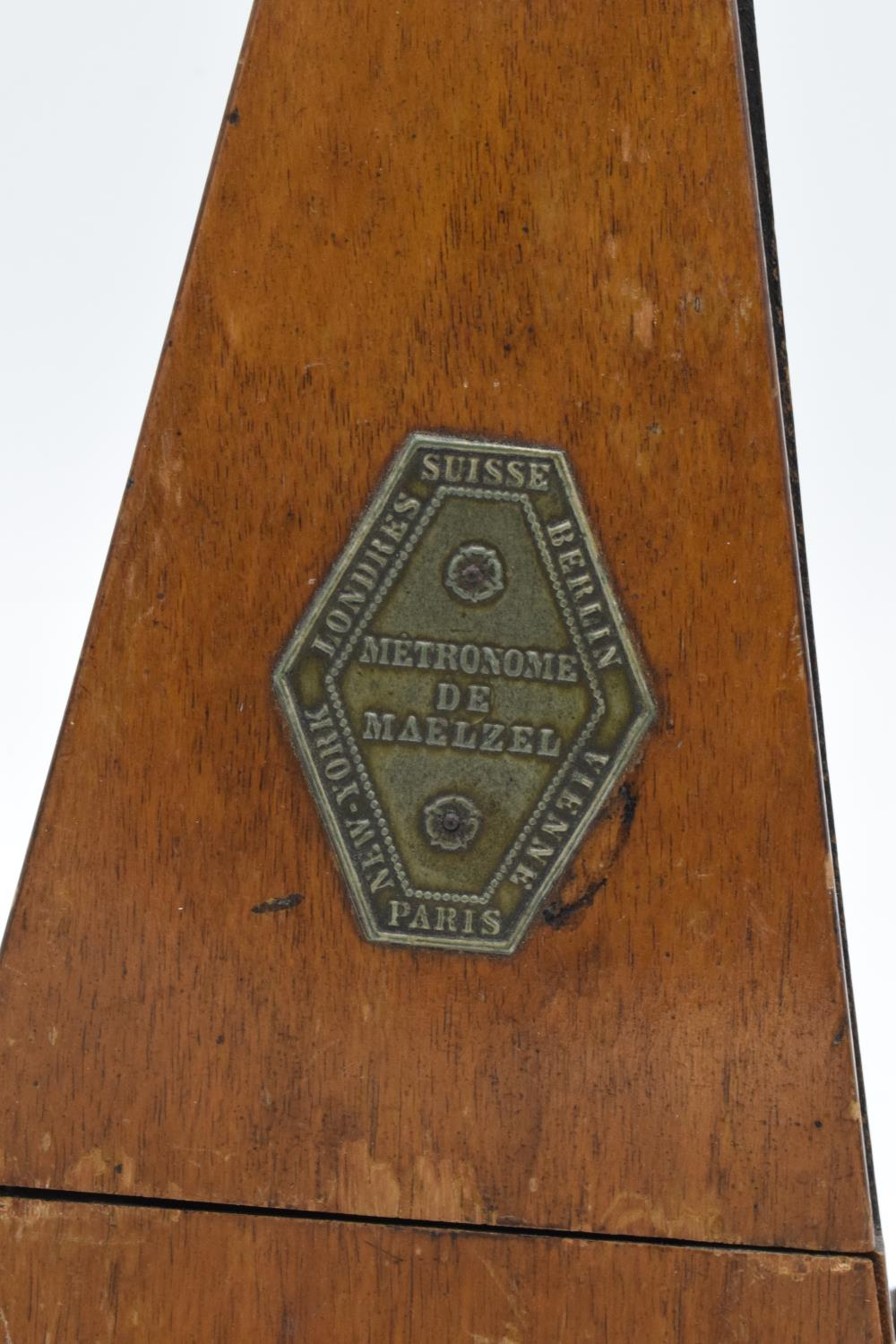 A 20th century wooden cased 'Metronome de Maelzel'. In ticking order though untested for time - Image 2 of 12