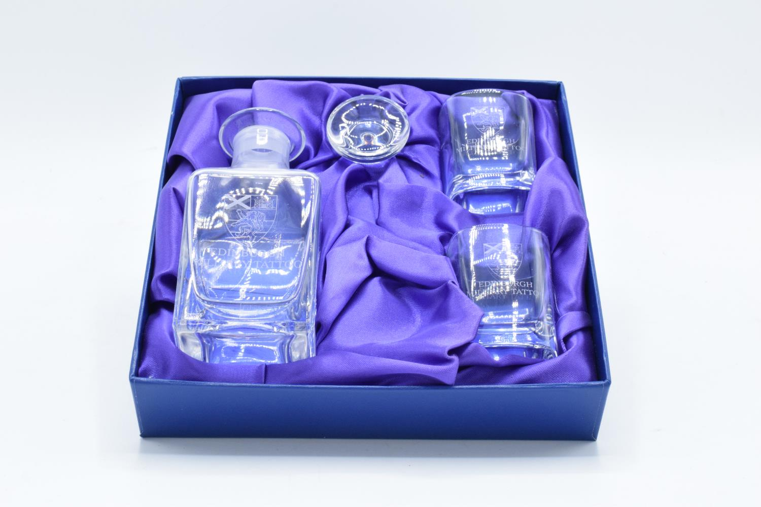 A boxed Glencairn crystal miniature decanter together with 2 tumblers engraved with Edinburgh