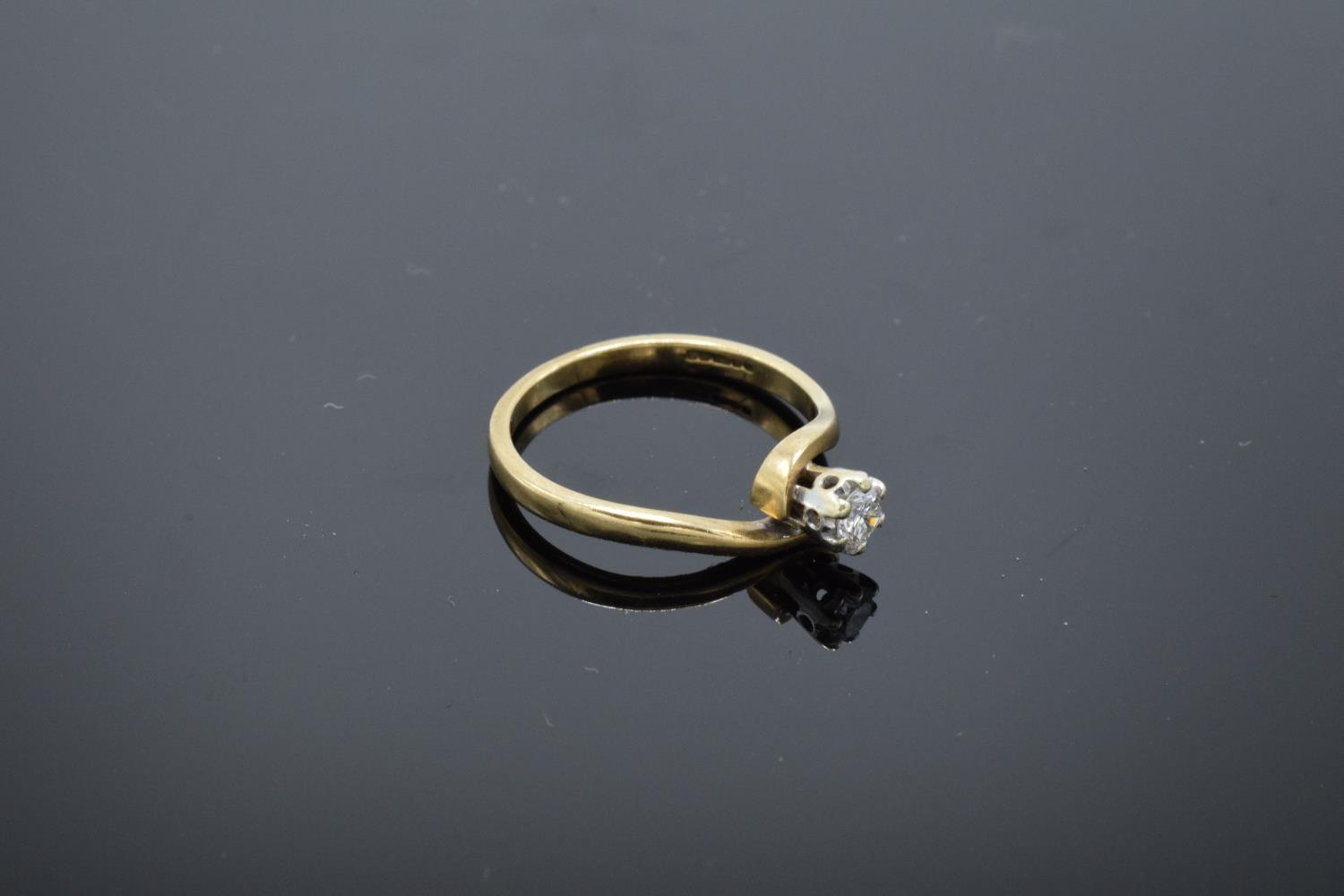 9ct gold ladies solitaire diamond ring. UK size L/M. 1.8 grams gross weight. Full hallmarks. - Image 2 of 4