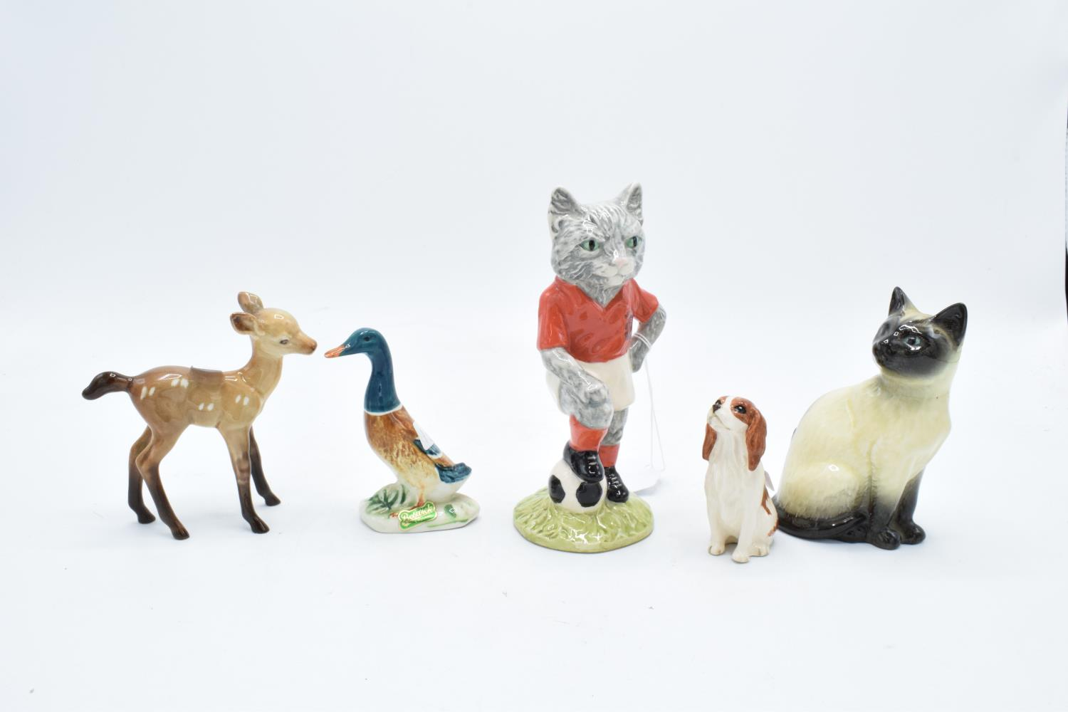 A mixed collection of Beswick to include a spaniel, a mallard duck, a Siamese cat, a fawn and a