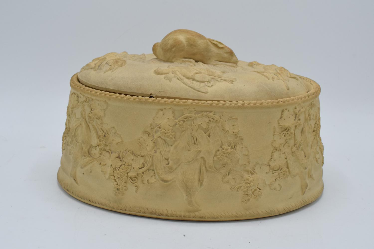 Wedgwood Caneware game pie dish with a rabbit finial (a/f). The main body is in good condition - Image 2 of 9