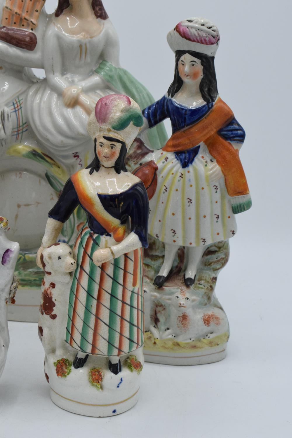 A collection of 19th century Staffordshire flatbacks to include a couple sitting on a clock, - Image 3 of 8