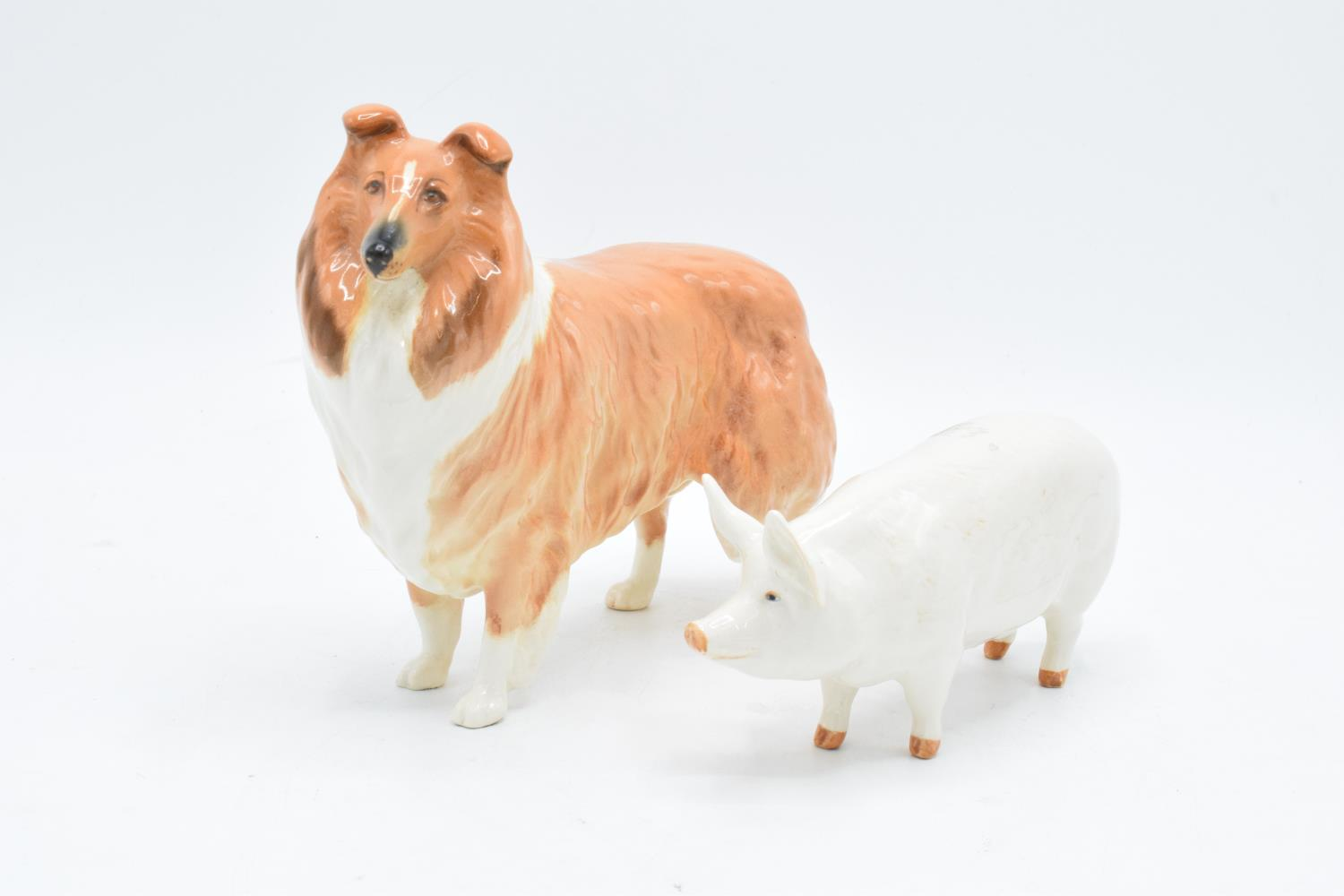 Beswick rough collie Lochinvar of Lady Park together with a pig Ch. Wall Queen 40 (2). In good
