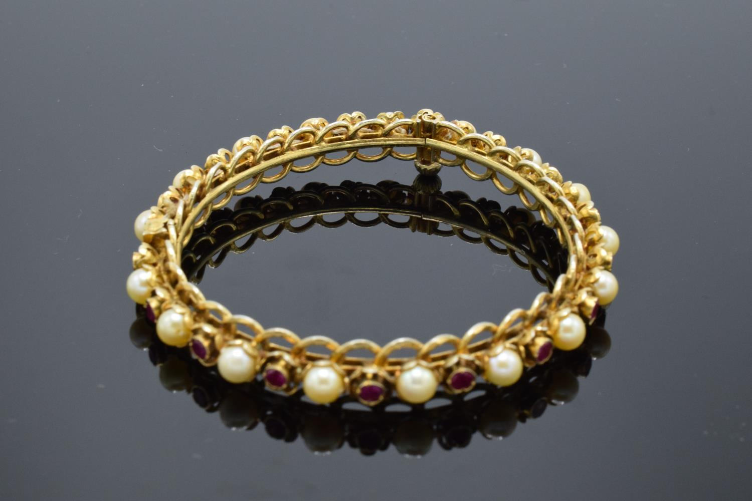 Quality silver gilt bangle set with ruby and pearl stones. - Image 3 of 3