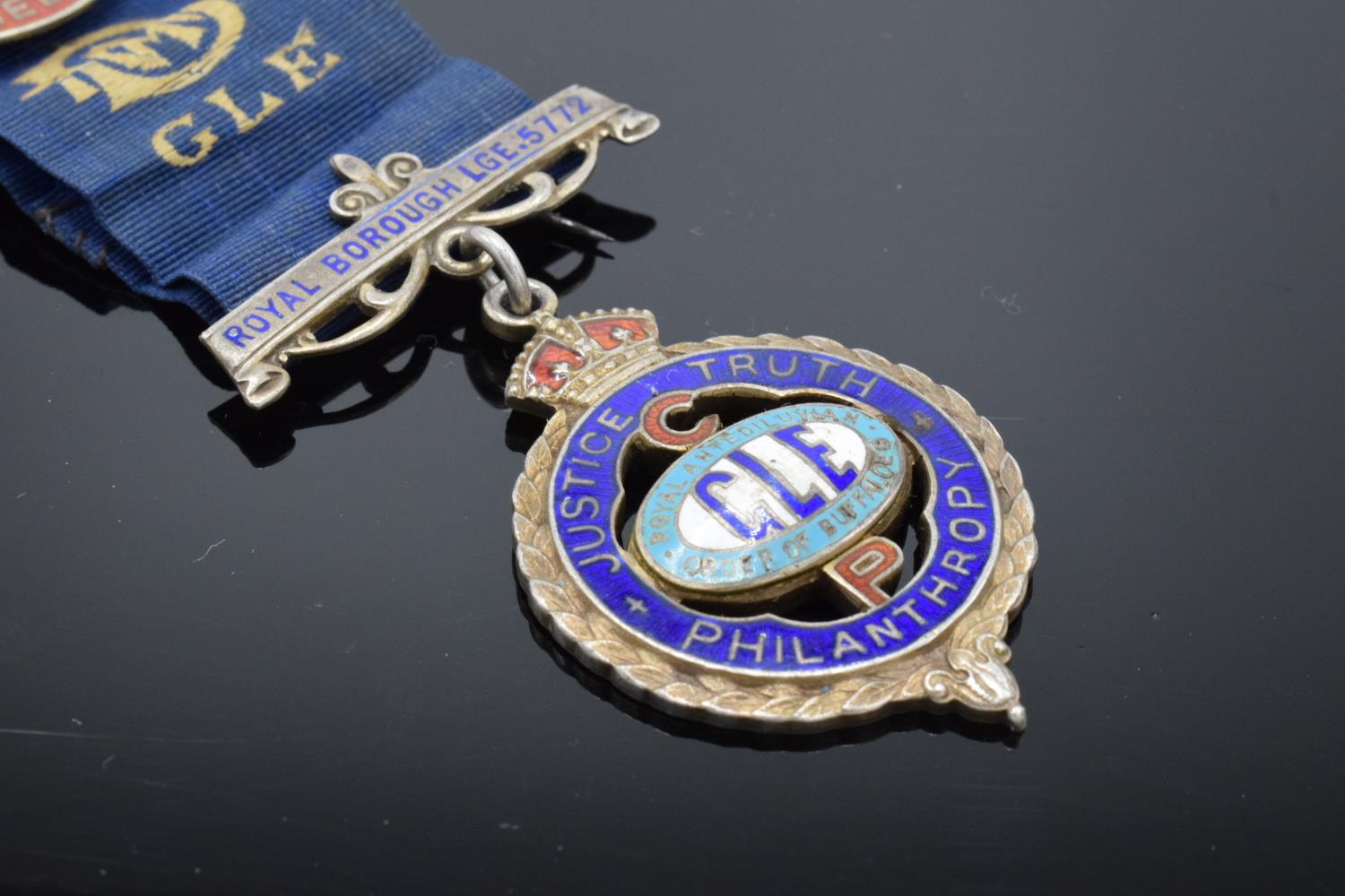 A silver medal and ribbon presented to Arthur J Thorne by the Royal Borough Lodge (GLE) Birmingham - Image 4 of 12