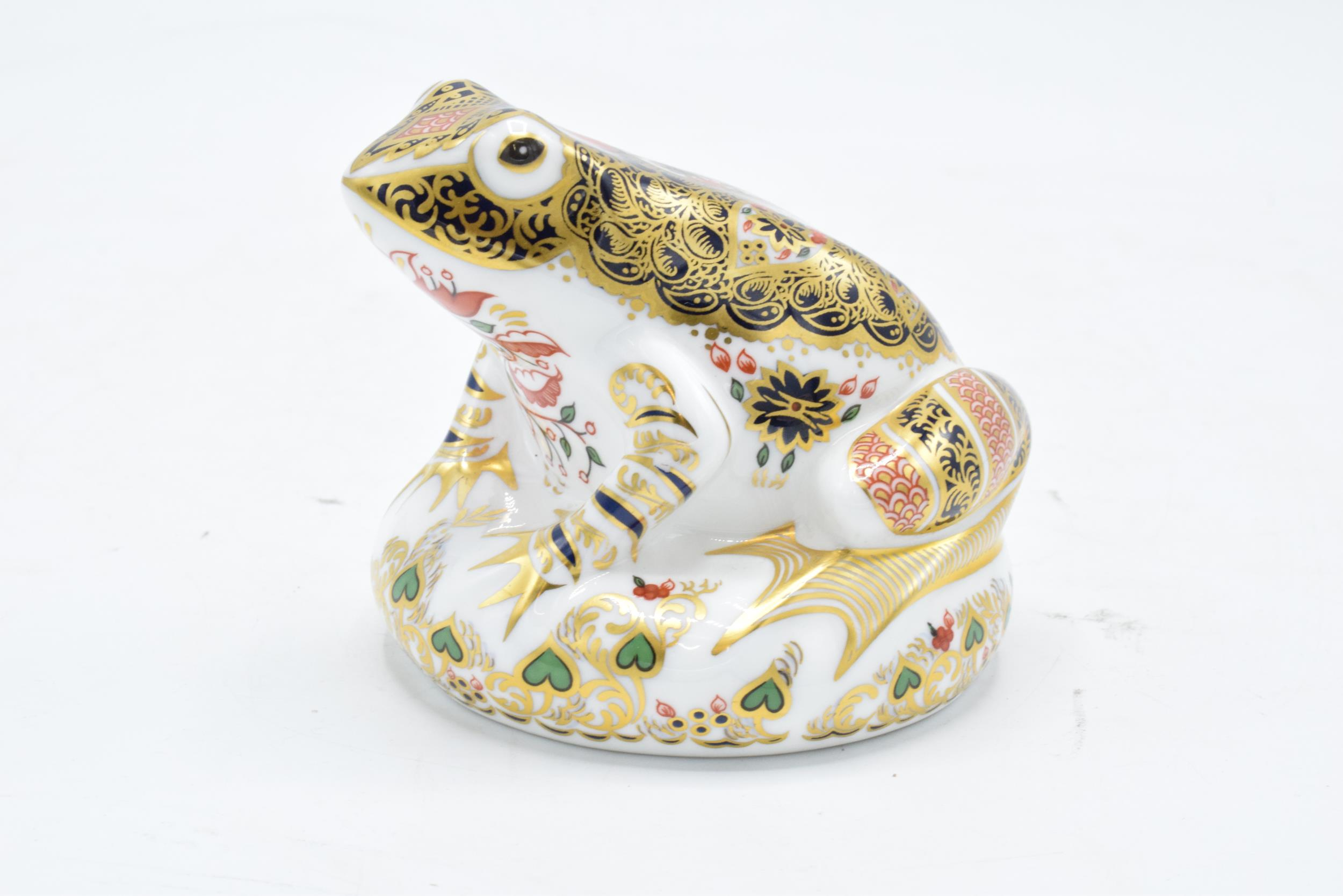 Boxed Royal Crown Derby paperweight in the form of an Old Imari Frog. First quality with stopper and