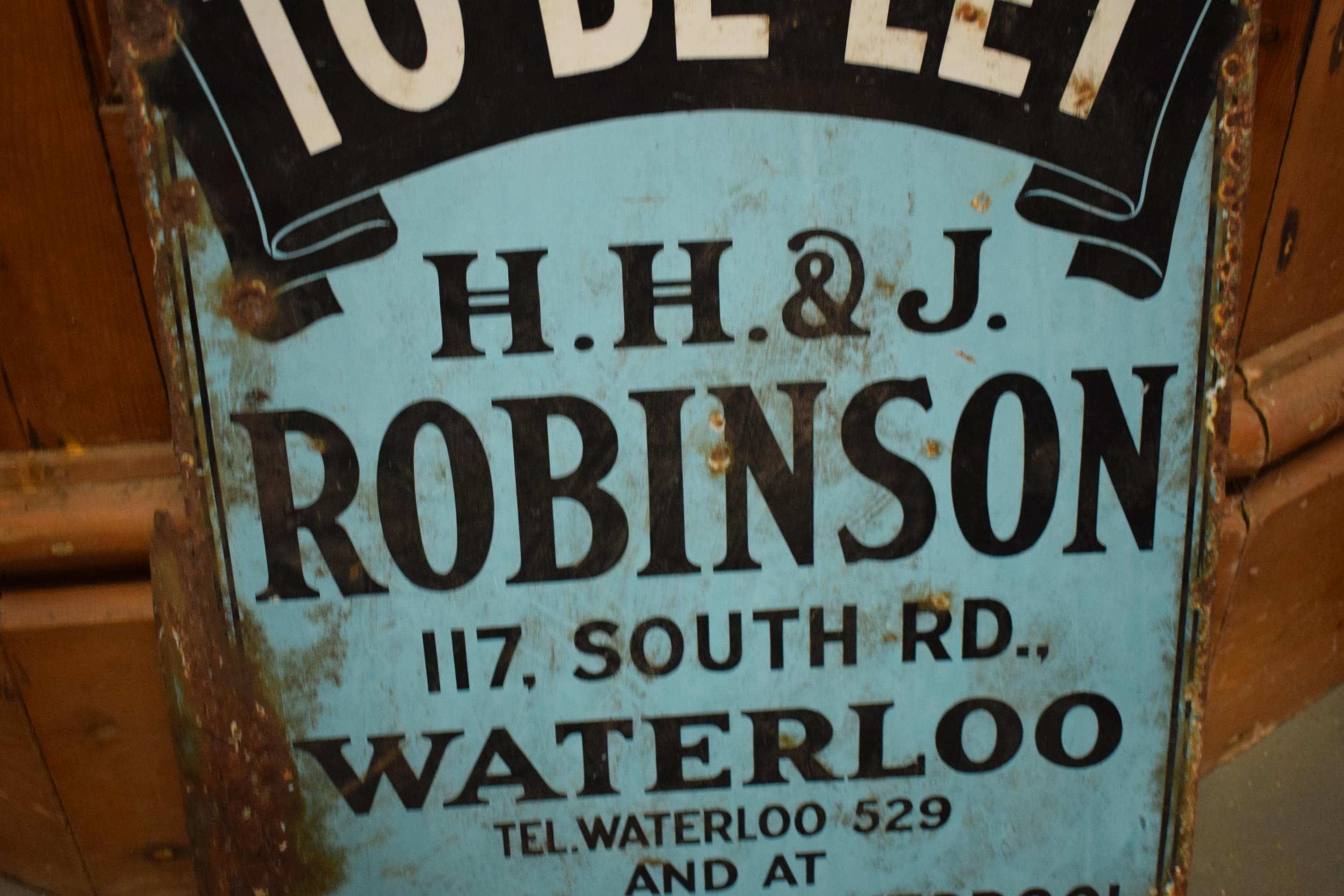 An original vintage double-sided enamel advertising sign for an H H and J Robinson estate agents. ' - Image 8 of 9