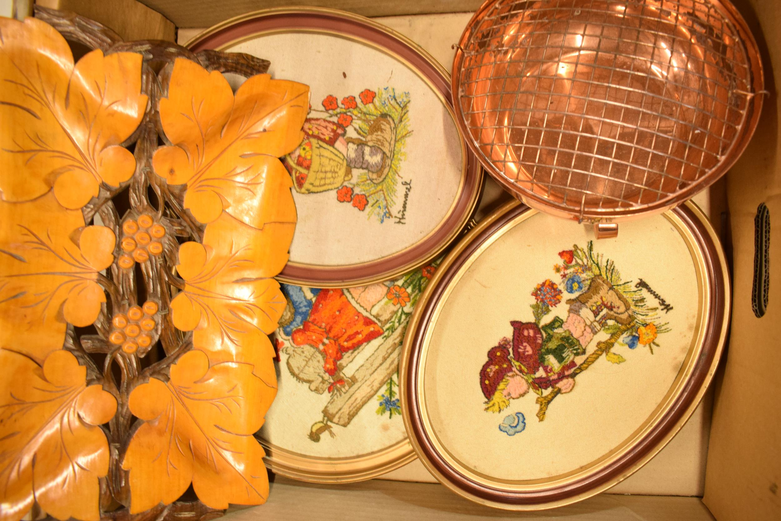 A mixed collection of items to include Hummel tapestries, Thomas Webb Crystal, a copper flower - Image 3 of 3
