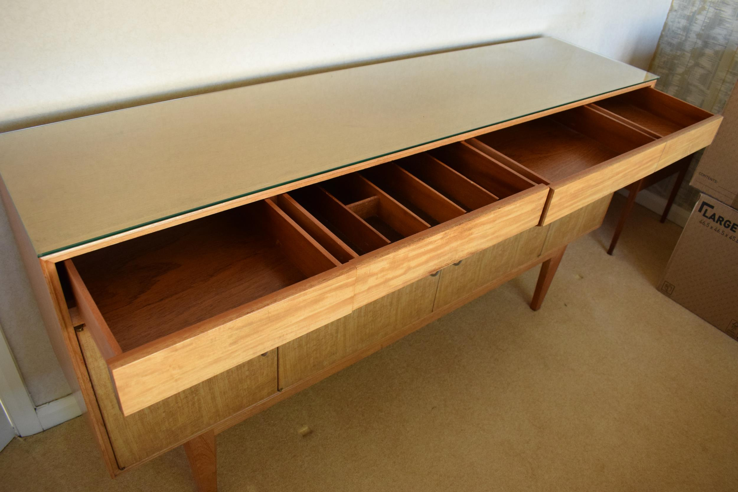 Gordon Rusell Limited four-door mid-century / retro sideboard on tapered legs with 4 drawers too. - Image 4 of 8