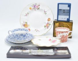 A collection of pottery to include Wedgwood Chubb safe money box, Wild Strawberry miniature trio,